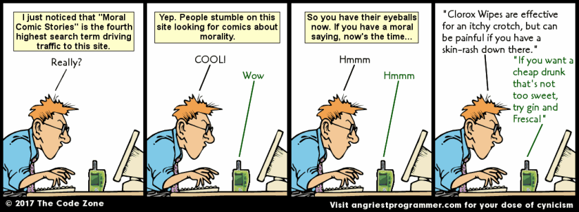 Yes, that's right. Comic strips about morality and ethics. Comics with morals!